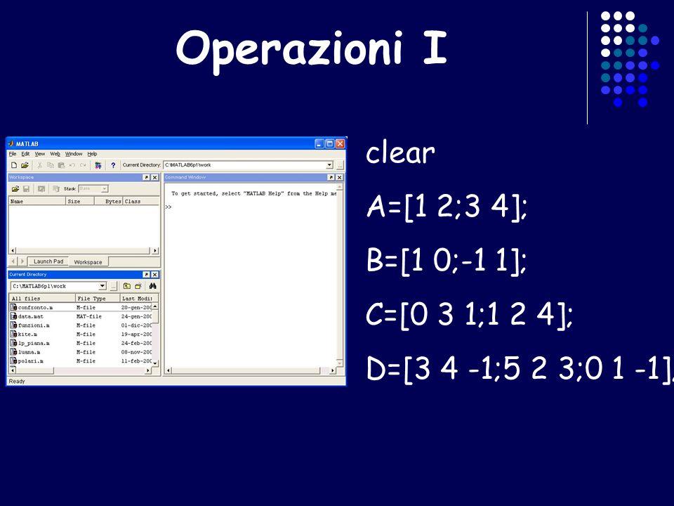Operazioni I clear A=[1 2;3 4]; B=[1 0;-1 1]; C=[0 3 1;1 2 4];